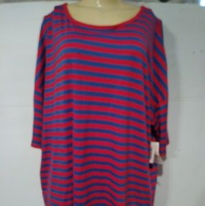NWT LULAROE IRMA RED/BLUE 2XL